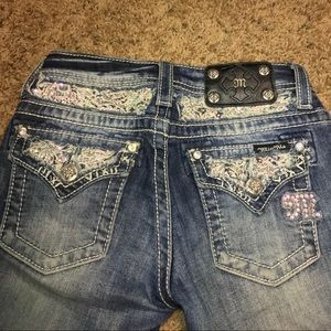 Girls miss me size 10 jeans with bling and lace